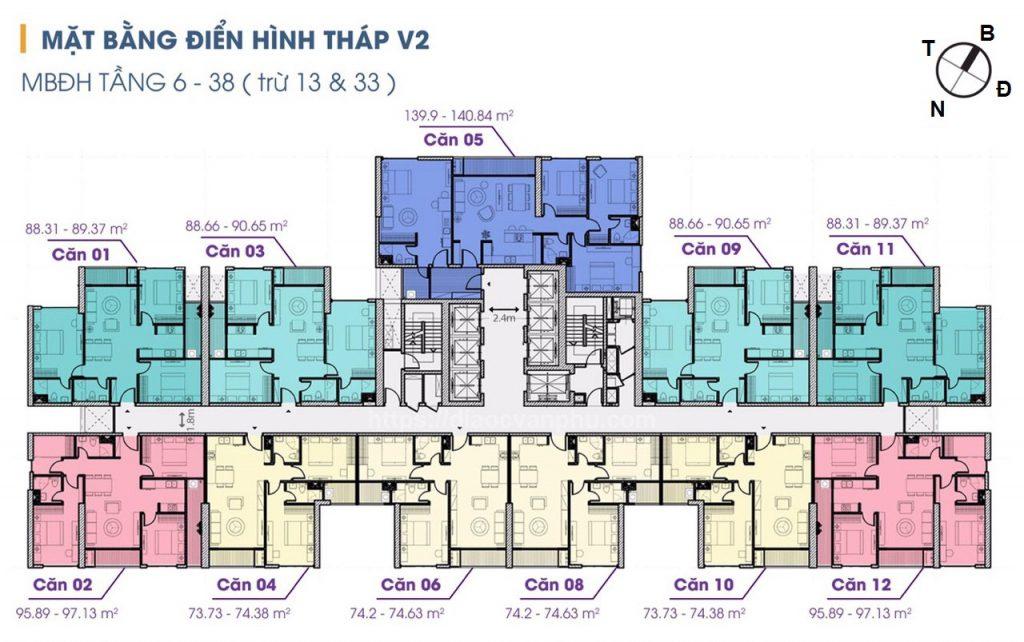 mặt bằng tòa v1 the terra an hưng tầng 6-38