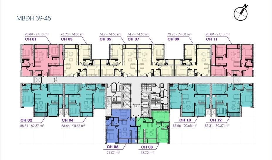 mặt bằng tòa v1 the terra an hưng tầng 39-45