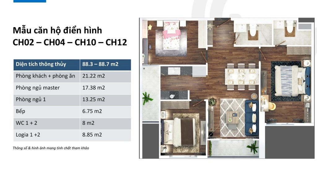 thiết kế căn hộ ch02, ch04, ch10 và ch12