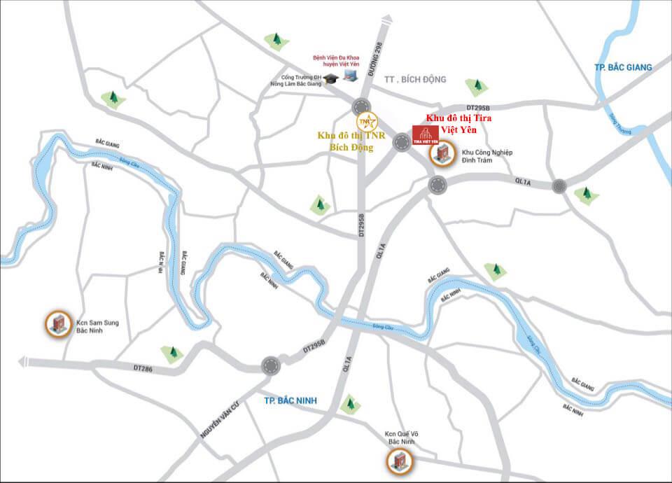vị trí khu đô thị Tira Việt Yên Bắc Giang