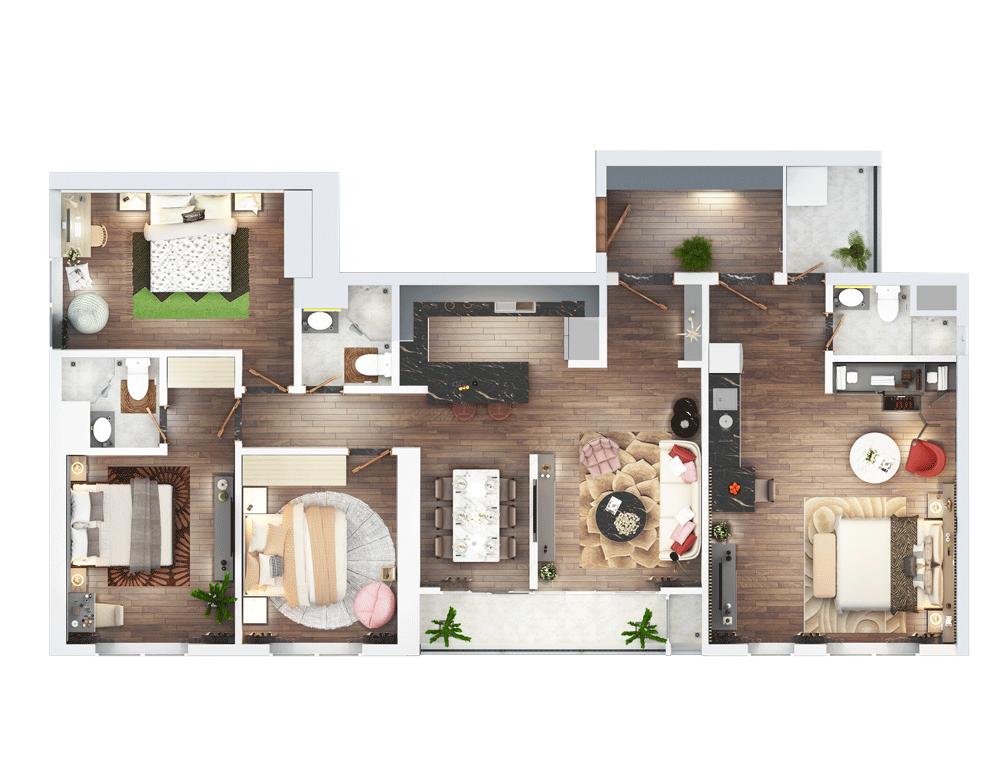 thiết kế căn hộ dual key the terra an hưng