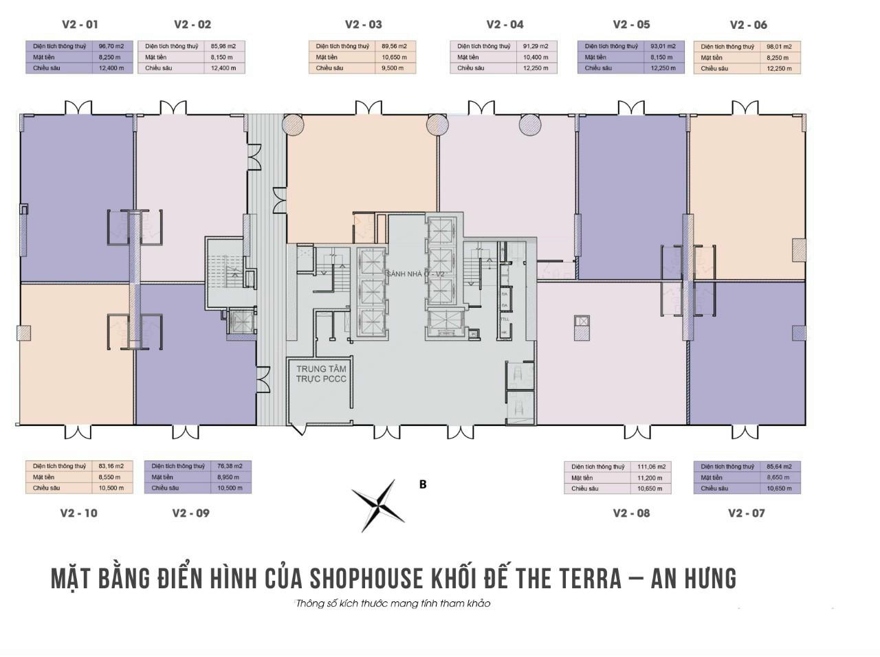 mặt bằng shophouse khối đế the terra an hưng tòa v2