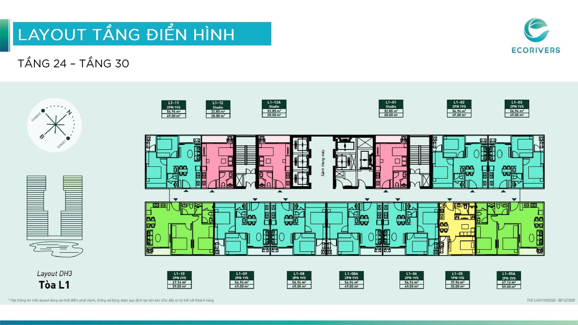 mặt bằng chung cư lighthouse ecorivers tầng 24-30