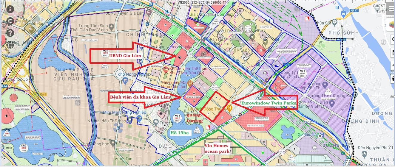 vị trí dự án eurowindow twin parks trâu quỳ gia lâm