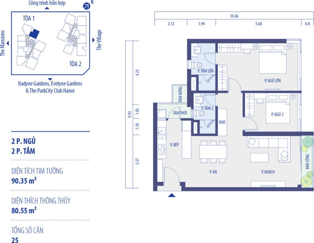 thiết kế căn hộ park kiara hà đông
