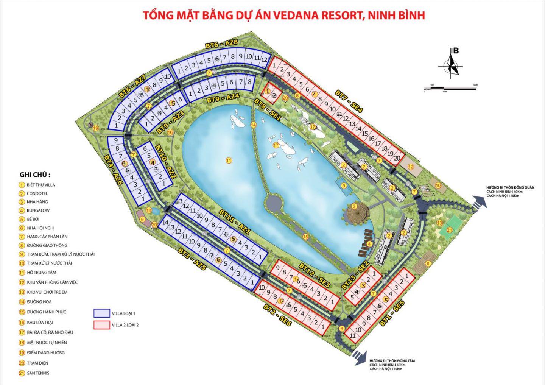 mặt bằng dự án vedana resort ninh bình
