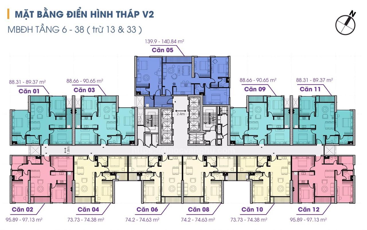 mặt bằng tòa v2 chung cư the terra an hưng tầng 6-38