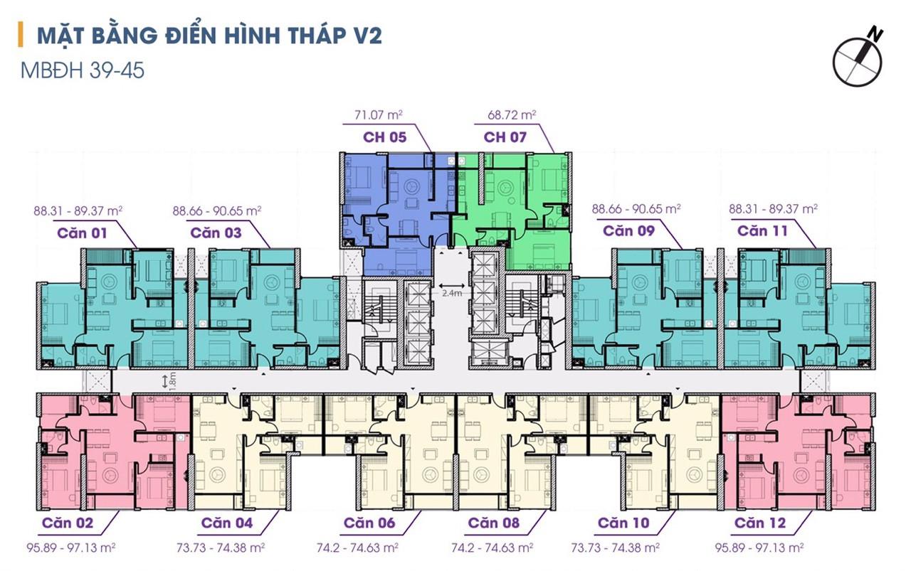 mặt bằng tòa v2 chung cư the terra an hưng tầng 39-45