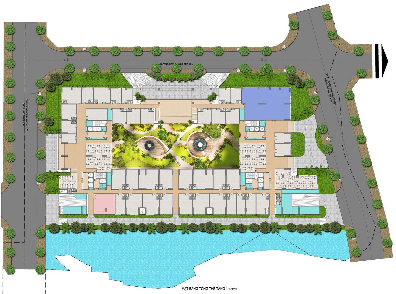 mặt bằng rổng thể dự án q7 boulevard