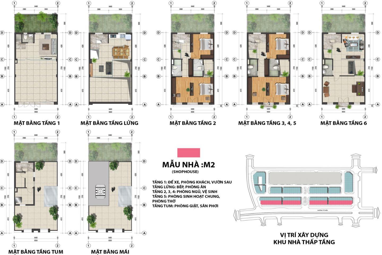 thiết kế shophouse the terra an hưng mẫu m2