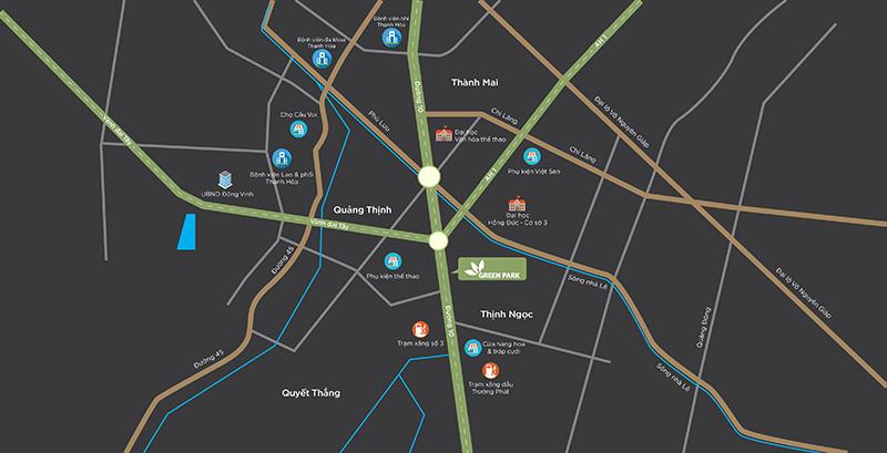 vị trí dự án green park quảng xương
